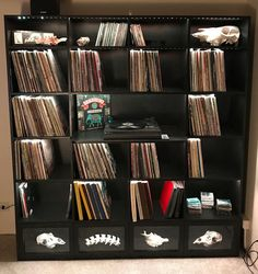The record cabinet is all loaded up with records! This thing looks awesome with everything in it! Record Cabinet, Record Collection, Vinyl Records, Everything, Bookcase, Woodworking, Diy Crafts, Shelves, Storage