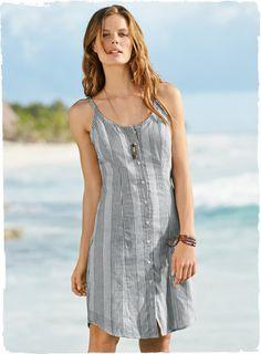 Peruvian Connection. Ticking-stripe tank dress. (100% Cotton)