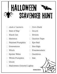 Use this free printable Halloween scavenger hunt list to get kids outside in the neighborhood hunting for items on the list. #papertraildesign #Halloween #Halloweenactivity #Halloweenprintables #Halloweenactivityforkids #kidshalloween