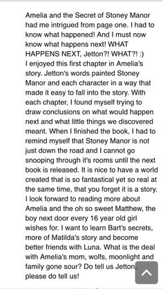 Book review from a fan on Goodreads about Amelia and the Secret of Stoney Manor written by Michelle Jetton.