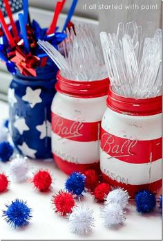 DIY Patriotic Painted Mason Jars 4th of July Decor Painted on the outside.  Used Washi tape instead of painters tape because she found painter's tape took off the paint.  Stars - made stamp with purchased foam stars.
