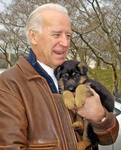 Joe Biden with a freaking adorable puppy. - Joe Biden Looking At Stuff Joe Biden, Barbara Bush, Jimmy Carter, Gsd Puppies, Cute Puppies, Michelle Obama, Barack Obama, Beagle, Life Image