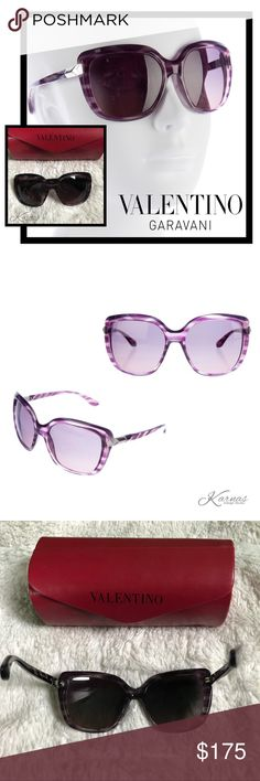 """💯 Auth Valentino Oversized Rockstud Sunglasses Please no ridiculous offers on these. They are 100% authentic. Beautiful purple rockstuds. Very good condition with no lense scratches and just a couple tiny scuffs. Love the silver stud hardware and purple gradient lenses. 2.25"""" frame height and 6"""" width. I just don't wear purple! Case has a tear but is still usable and is included. I will also send a receipt and auth card verifying authenticity. Please ask any questions before purchasing, I…"""