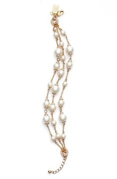 Nordstrom Earrings - kate spade new york 'pearls of wisdom' faux pearl bracelet available at Bracelets For Boyfriend, Cute Bracelets, Jewelry Bracelets, Pearl Bracelets, Pearl Necklaces, Pearl Jewelry, Beaded Jewelry, Pearl Rings, Kate Spade New York