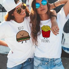 Classic Burger and Fries BFF Tee - White - Fries / XL