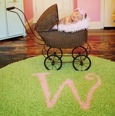 Adorable newborn photo! Love the baby carriage and initial rug!