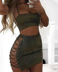 Women Spaghetti Strap Crop Top Side Lace up Skirt Outfit Two Pieces Bodycon Bandage Suits Classy Sexy Outfits, Stylish Outfits, Cute Outfits, Fashion Outfits, Clubbing Outfits, Prom Outfits, Skirt Outfits, Lace Up Skirt, Sexy Skirt