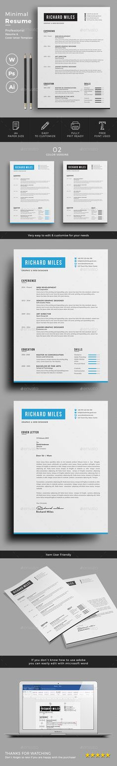 Resume by jpixel55 Minimal & Clean Resume/CV template to help you land that great job. The flexible page designs are easy to use and customize, so yo