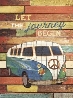 12 x 16 - Wooden Cafe Mounted Wall Art by artist Marla Rae. Print is mounted on inch wood with black painted edges for a contemporary look. Bus Art, Decoupage, Art Impressions Stamps, Palette, Hippie Art, Volkswagen Bus, Pallet Art, Painting Edges, Boho