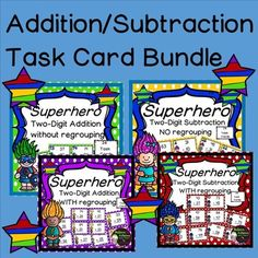 Two-Digit Addition and Subtraction with and without regrouping task cards (Superhero theme)- 4 sets of cards (24 cards in each set)Save 20% by buying these as a bundle! So much fun for your students!This is a colorful set 4 sets of task cards! Each set has 24 task cards to practice two-digit addition and subtraction with and without regrouping.