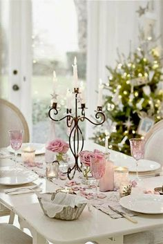 Shabby chic Christmas tablescape