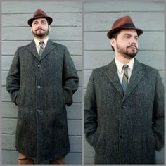 Vintage Long Tweed Coat// 1940's-1950's Men's by WhirlwindVintage