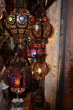 Moroccan lanterns. Photo by Marina Saclley, 2011. From... http://iced-vovos.blogspot.co.uk/2011/11/lanterns-moroccan-style.html