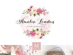Floral Logo ,Romantic Logo, Watercolor Logo, Peonies Logo, Photography Logo, Boutique Logo ,Shabby Chic Logo, Watermark,Feather Logo