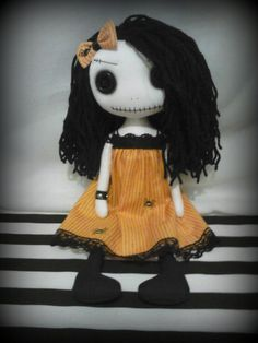 Gothic Halloween Art Rag Doll  Mitzi  RESERVED by ChamberOfDolls