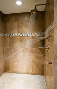tiled shower with multiple shower heads ...