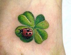 Heart four leaf clover tattoo. Ladybug tattoo 3D