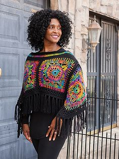 Poncho Peace Out! Poncho & Headband Crochet Pattern by Lena Skvagerson from Annie's Signature Designs www. Crochet Bolero, Poncho Au Crochet, Pull Crochet, Mode Crochet, Crochet Poncho Patterns, Crochet Shawls And Wraps, Granny Square Crochet Pattern, Crochet Squares, Knit Crochet