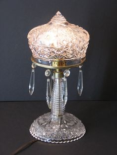 Glass CrystallineTable Lamp with Crystal Drops, Reflective Victorian Style Vintage Estate Find