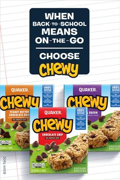 Quaker Chewy is a wholesome, delicious snack that your kids will love. Each granola bar is made with 100% whole grains & other delicious ingredients and contains no artificial flavors, added colors or high fructose corn syrup.