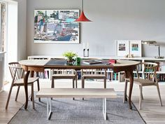 LightYellow bench, Vang chair by Andreas Engesvik, Semi by Gubi light. low bookcases