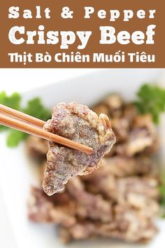 This is a quick and seriously tasty beef recipe that's commonly served in Chinese restaurants. It's tender beef slices marinated with salt, pepper and Chinese five spice; coated in a white egg white batter then deep fried. The crispy beef is tossed with a bit of salt and pepper as a finishing touch. #beefrecipes #beef #fried #thitbo Vietnamese Recipes, Asian Recipes, Beef Recipes, Cooking Recipes, Crispy Beef, Beef Sirloin, Chinese Restaurant, Chinese Food, Quick Easy Meals