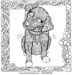 Cute Little Patterned Puppy Dog Portrait On White Background Hand Drawn Illustration Doodle Style In