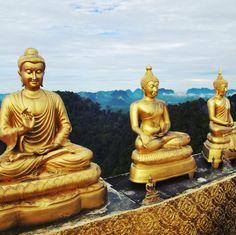 Golden Buddhas, Tiger Temple, Wat Tham Suea, Krabi, Thailand