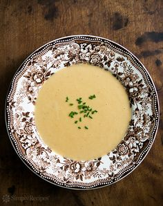 Potato Cheddar Guinness Soup ~ Creamy and richly flavored soup with russet potatoes, sharp cheddar cheese, and Guinness stout ~ SimplyRecipes.com