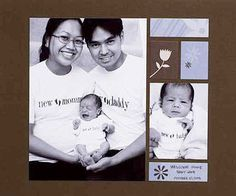 Design by Aimee Fernandez-Capina Showcasing their new T-shirts and roles, the Fernandez-Capina family cuddled close for a homecoming photo session. Aimee converted color photos to black-and-white to give the page a classic look.  SOURCES: Cardstock: Bazzill Basics Paper. Stickers: Scrapworks. Pen: Zig Writer by EK Success.