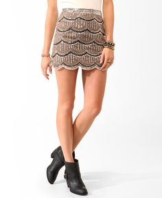 Holiday Party Sequined Mesh Miniskirt