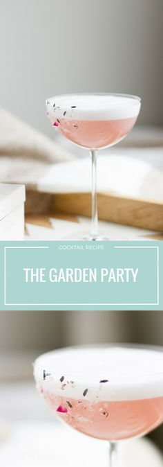 Garden Party Cocktail: A floral fizz with rose water, lavender infused vodka, hibiscus syrup and elderflower liqueur! #cocktailrecipes