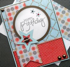Masculine Birthday Card with Matching Embellished Envelope - Star Power