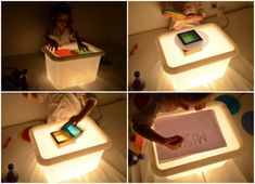 tuto diy table lumineuse ikea pas chere tutorial diy ikea light table not expensive Montessori Activities, Infant Activities, Activities For Kids, Diy Light Table, Diy Table, Diy For Kids, Crafts For Kids, Table Ikea, Licht Box