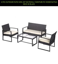 4 PCS Outdoor Patio Sofa Set Sectional Furniture PE Wicker Rattan Deck 40 Black #drone #tech #plans #kit #racing #fpv #shopping #patio #furniture #products #4pc #technology #parts #camera #gadgets