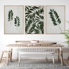 Tropical Leaves Wall Art Print Set | Collection 9 Tags: wall art; wall print; wall decor; tropical; leaves; leaf; closeup; detail; greenery; green and grey decor; bedroom decor; leaf; leaves; green and grey bedroom; home decor; office decor