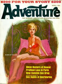 This lovely lady reminds me of the style of Robert McGinnis or Ron Lesser. The painting was on the cover of Adventure magazine in April Pulp Fiction Book, Fiction Novels, Adventure Magazine, War Comics, Pulp Magazine, Magazine Covers, Robert Mcginnis, New Paris, Pulp Art