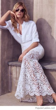 White shirt and lace skirt