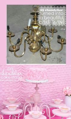 How To Make Cake Stand out of an old chandelier. I have a chandelier so close to this that came with my house. What a great idea! Table Presentation, Bolo Diy, Fun Crafts, Diy And Crafts, Old Chandelier, Chandelier Makeover, Chandeliers, Chandelier Cake Stand, Chandelier Ideas