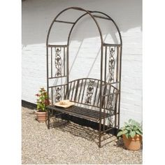bronze metal two seater garden bench and arch set