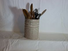 NEUTRAL LOOKin old tin utensil holder by oldtinstuff on Etsy, $20.00