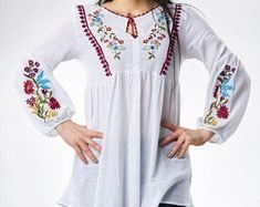 Check out our embroidered blouse selection for the very best in unique or custom, handmade pieces from our blouses shops. Embroidered Blouse, Cover Up, Tunic Tops, Unique, Etsy, Shopping, Ideas, Dresses, Women
