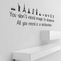 """Adesivo Murale - Travelling is magic. Viaggiare è magico! Adesivo murale di alta qualità con pellicola opaca di facile installazione. Lo sticker si può applicare su qualsiasi superficie liscia: muro, vetro, legno e plastica. L'adesivo murale """"Travelling is magic"""" è ideale per decorare il soggiorno. Adesivi Murali."""