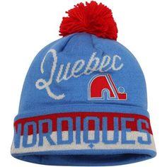 45b3467a5f2 Mens Quebec Nordiques Reebok Light Blue Vintage CCM Cuffed Knit Beanie w Pom