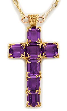 Retro Siberian amethyst and three-color gold chain and cross necklace.  Barbara Anton.