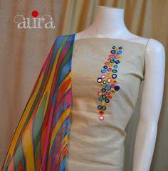 Creative Mirror Work designing On Kurti / Churidar Churidar Designs, Kurta Designs Women, Kurti Neck Designs, Dress Neck Designs, Blouse Designs, Embroidery On Kurtis, Kurti Embroidery Design, Embroidery Neck Designs, Embroidery Suits