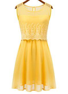 Latest Round Neck Sleeveless Dress with Lace Yellow $26.06