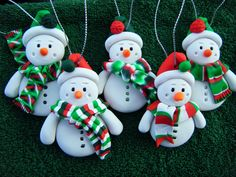 Made to Order Handmade Sculpey Clay Snowmen Ornaments (set of 5). $21.00, via Etsy.