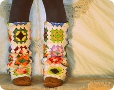 Upcycled granny square blanket Legwarmers by acornolyphant