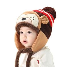 Lovely kids baby Winter Hat Fashion Winter Warm Kid Baby Girl Boy Ear Thick  Knit Beanie Cap Hat Baby Beanies Accessories f59cce4fce6f